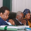 L-R- Prof Bolaji Akinyemi, Hon Justice Idris Kutigi and Mrs Valerie-Janette Azinge, facial look during the tribute to Prof Dora Akunyili