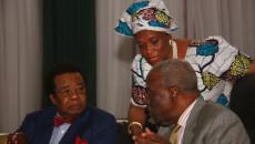 R-L- Hon Justice Idris Kutigi, Mrs Valerie-Janette Azinge and Prof Bolaji Akinyemi