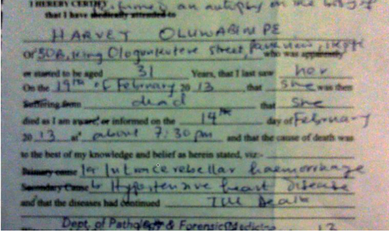 Goldie's autopsy report